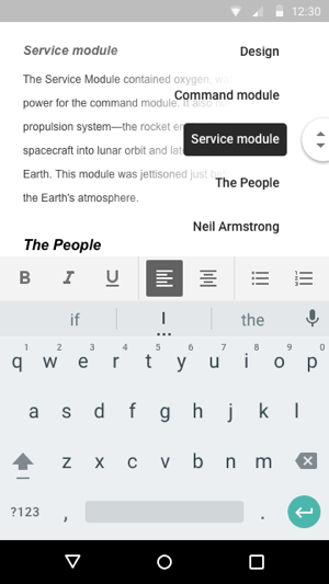 Google Docs outline feature on the Android